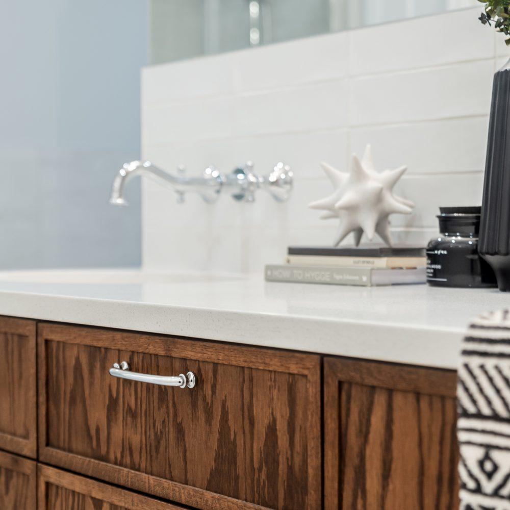 Cabico Custom Cabinets - Farmhouse bathroom project - Closeup view