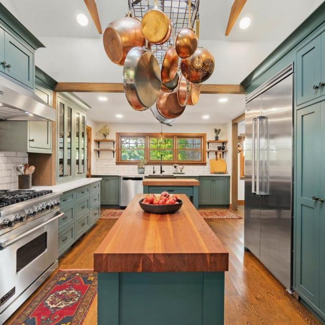Vibrant color in a country setting. . The Unique Series boasts top-quality materials and outstanding craftsmanship for long-lasting beauty and functionality. . Designed by @rikbdesignbuild. . Cabinetry: Unique series Custom color match to Benjamin Moore Mediterranean teal, 300 K door style . . . #HelloCabico #CabicoCabinetry #Cabico #CustomCabinetry #CabicoCustomCabinetry #CustomCabinets #HumanTouch #HumanTouchProgram #CabicoHumanTouch #InteriorDesign #Cabinetry #CabinetryDesign #UniqueSeries #CabicoUnique