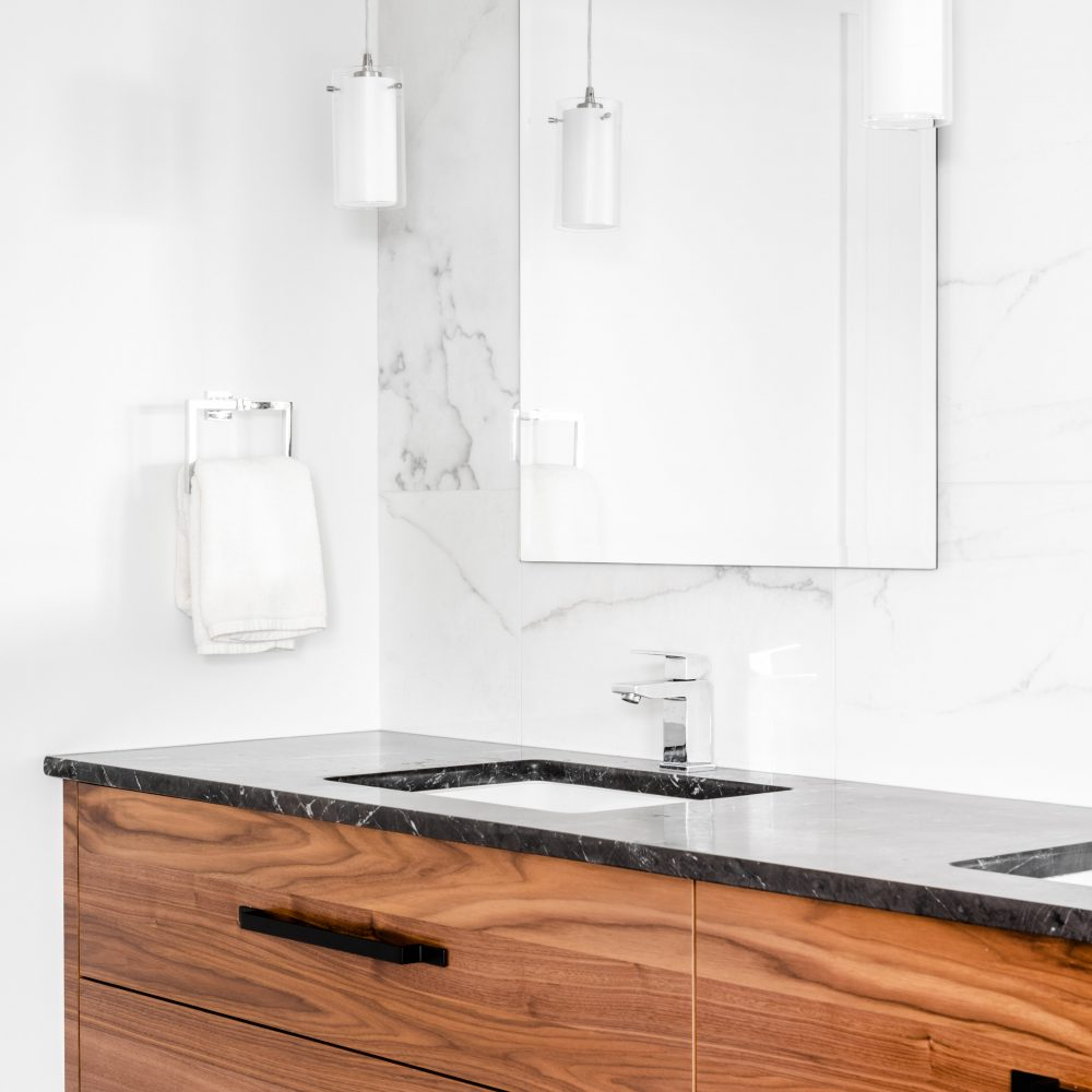 Elmwood Wood Cabinets Kitchen - 10 Mile Point bathroom project - vertical overview