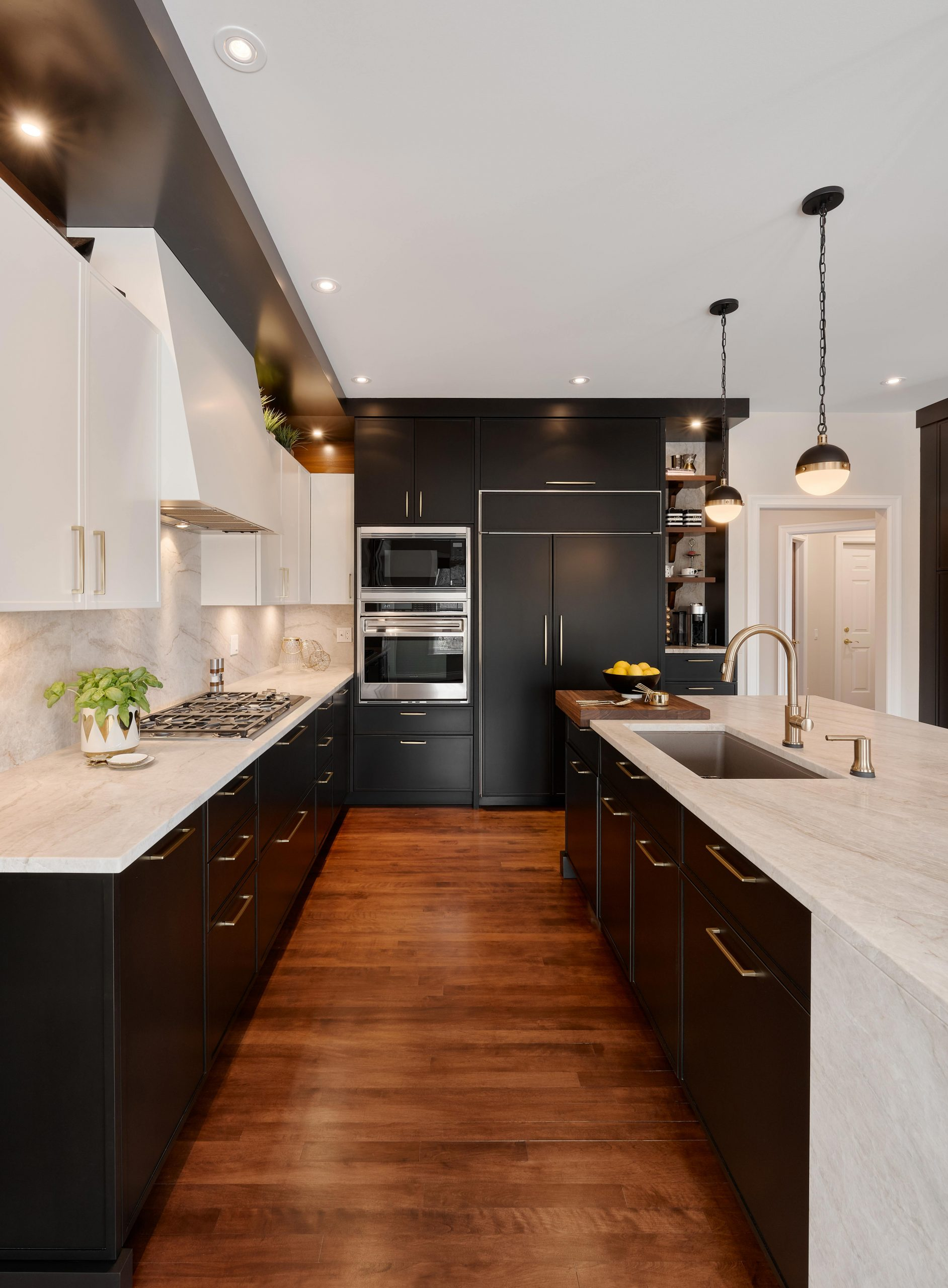 Elmwood Wood Cabinets Kitchen - Candide kitchen project - kitchen and island view