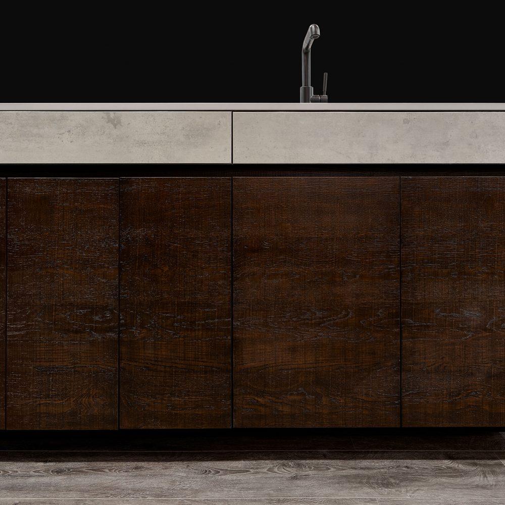Elmwood Wood Cabinets Kitchen - KBIS 2019 kitchen project - dark side of the kitchen island view